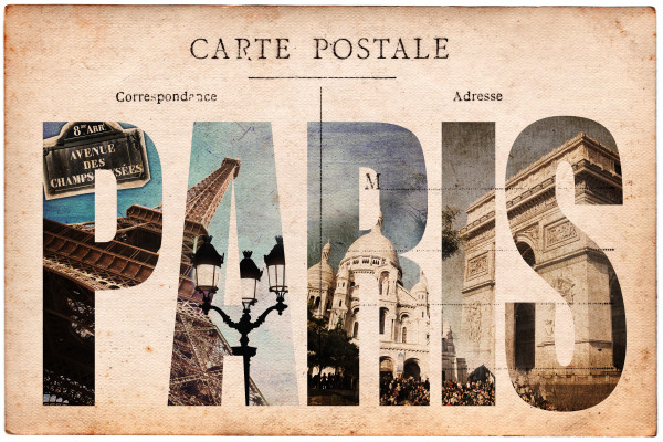 carte postale ancienne collage monuments paris custom wallpaper. Black Bedroom Furniture Sets. Home Design Ideas