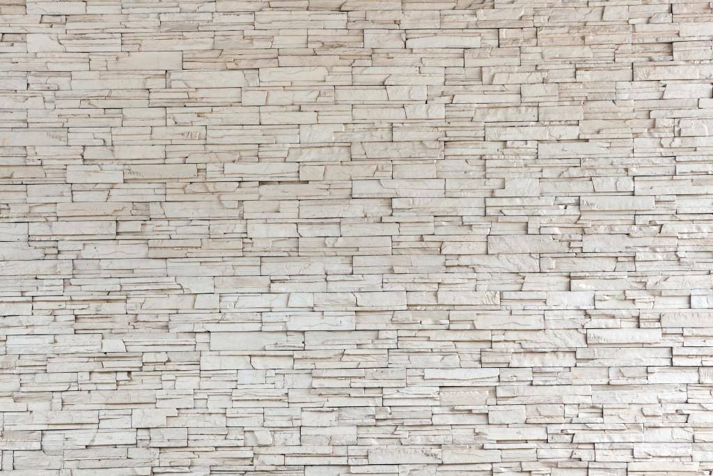 White Stone Tile Texture Brick Wall Custom Wallpaper