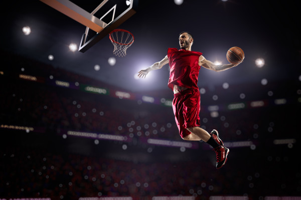Red Basketball Player In Action Custom Wallpaper