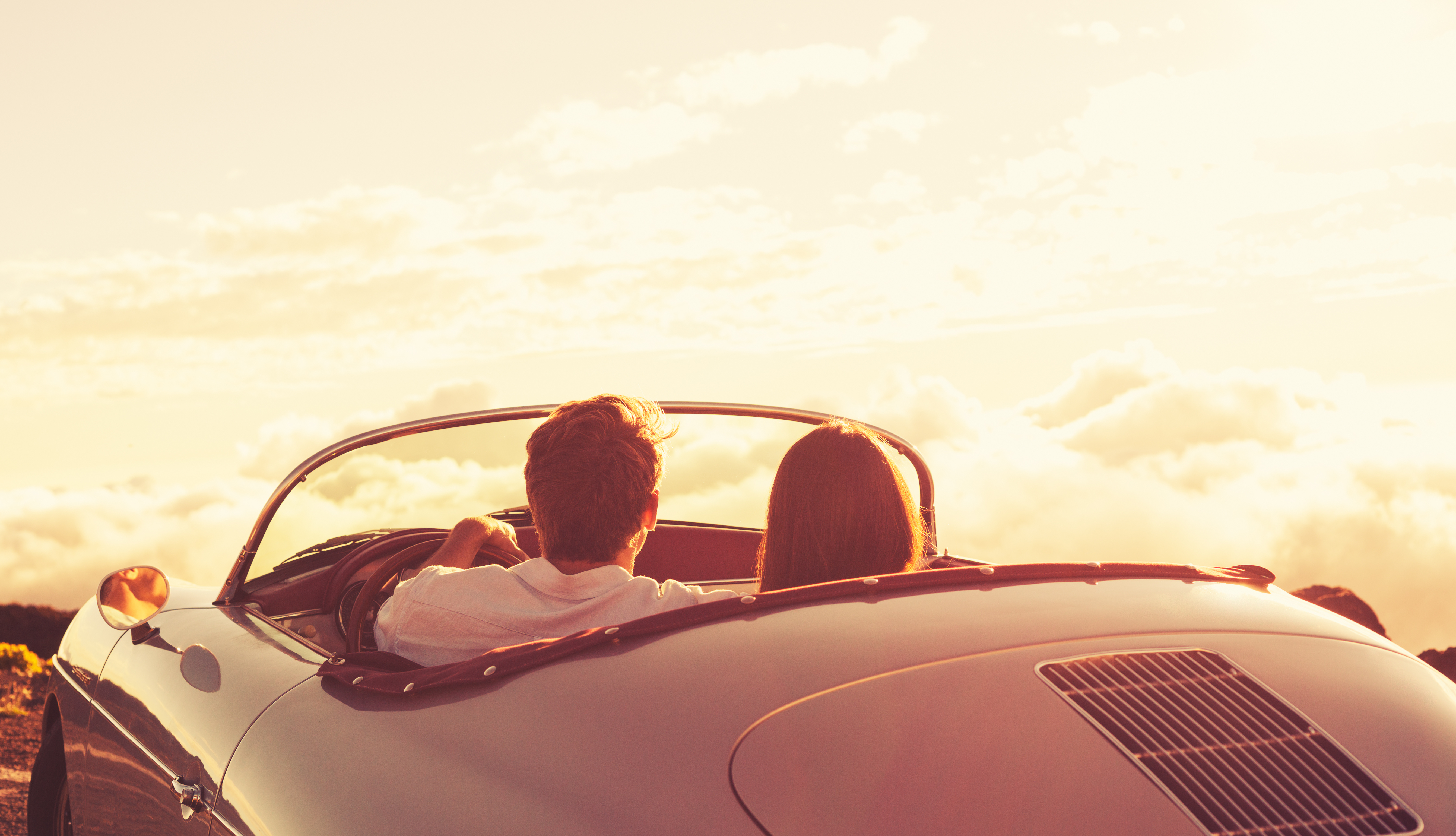 Retro Bedroom Ideas Couple Watching The Sunset In Classic Vintage Car Custom