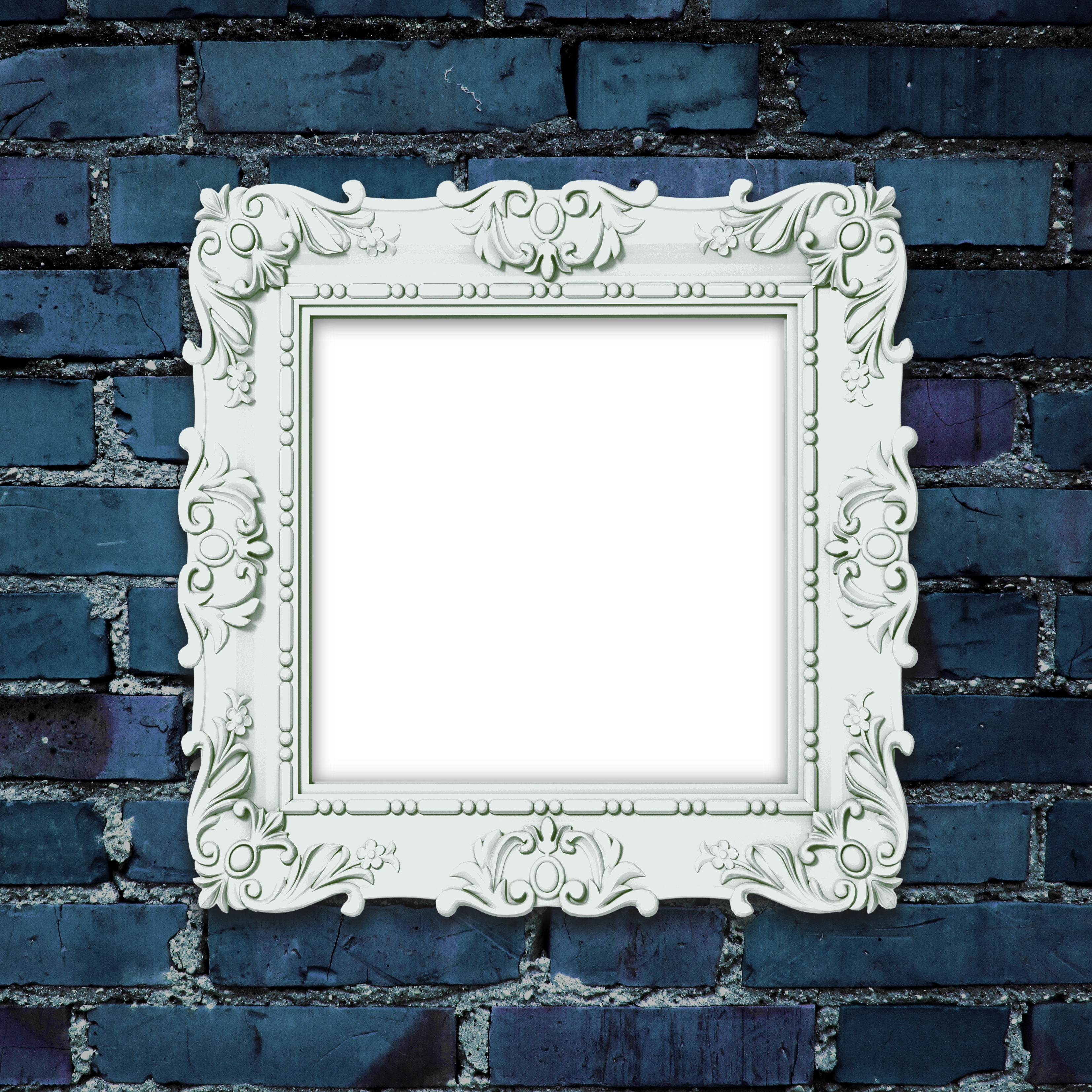 Decorated Picture Frame On Dark Blue Brick Wall Custom