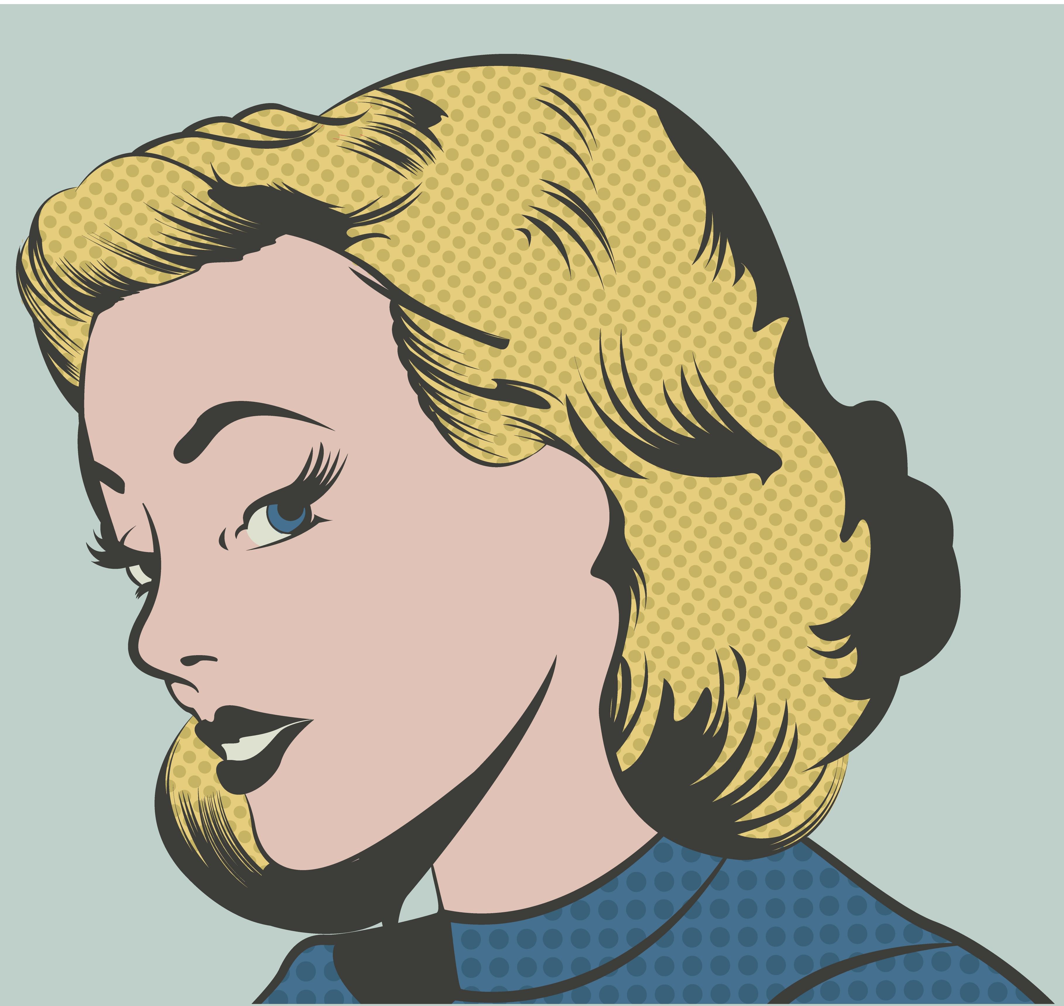 Pop Art Woman Vector Illustration Custom Wallpaper