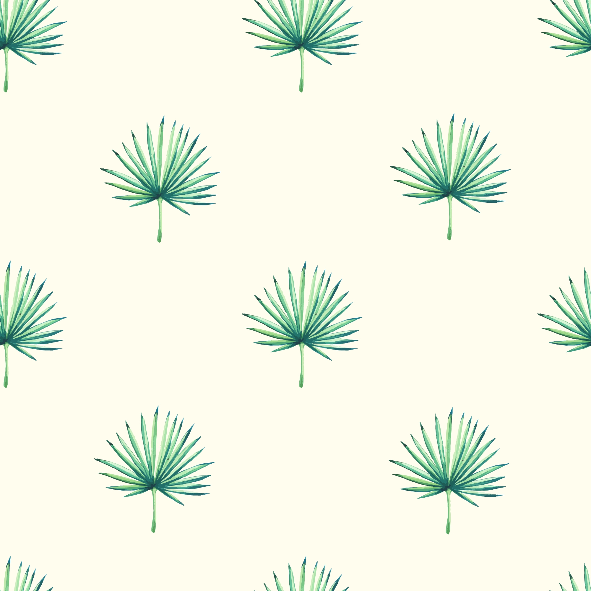 Watercolour Leaves Seamless Tropical Pattern Custom