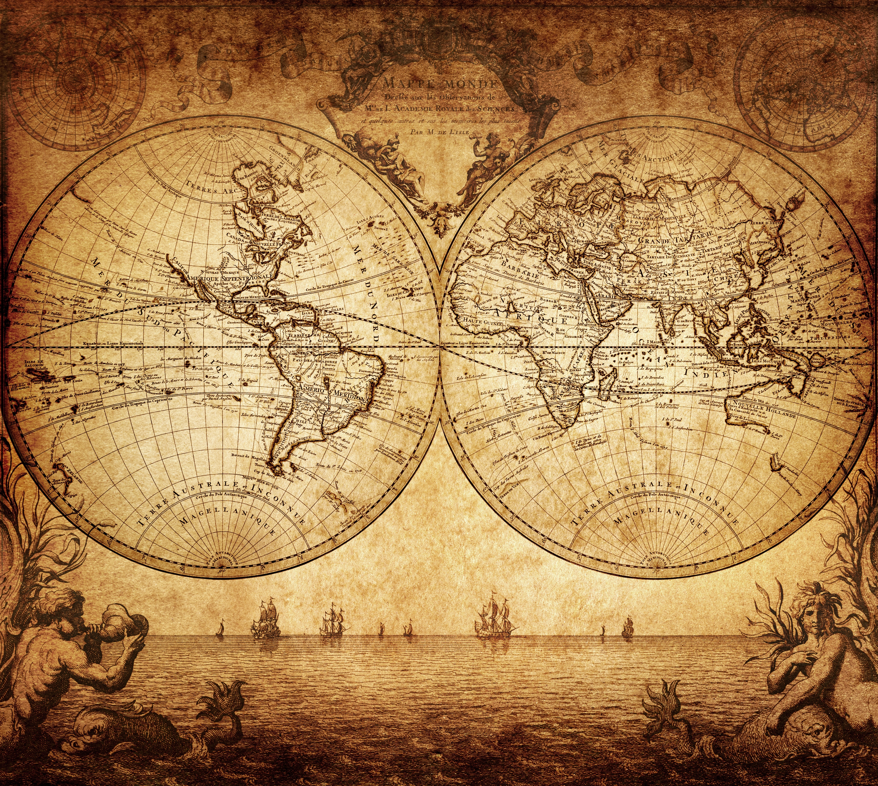 Vintage Map Of The World 1733 Custom Wallpaper