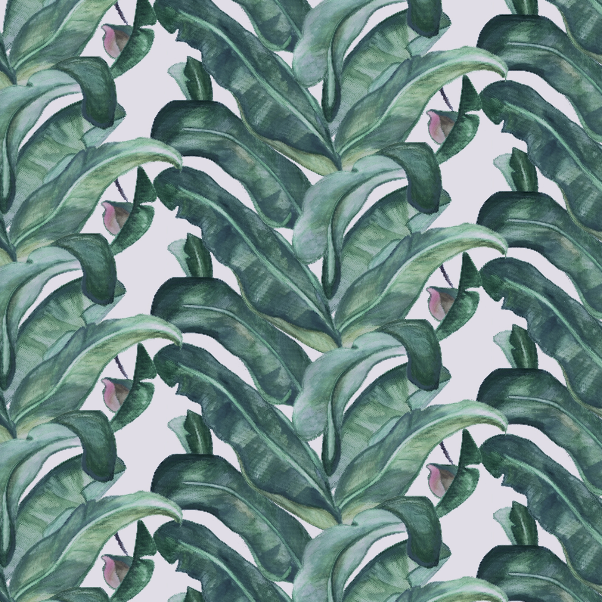 Palm Leaves Watercolour Dark Repeat Pattern Custom