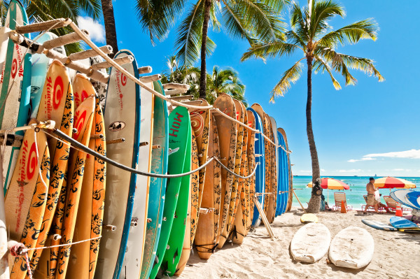 Surfboards in the rack at Waikiki Beach – Honolulu