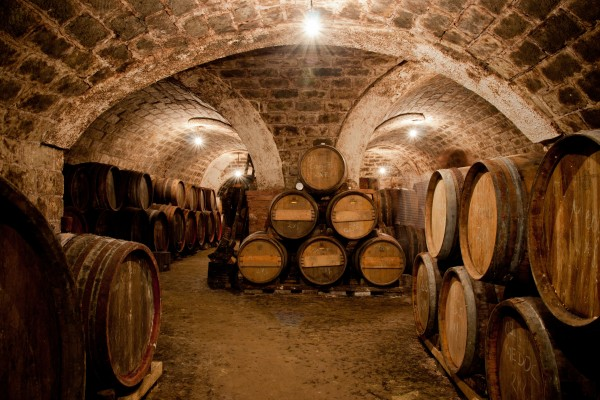 Barrels In A Hungarian Wine Cellar Custom Wallpaper