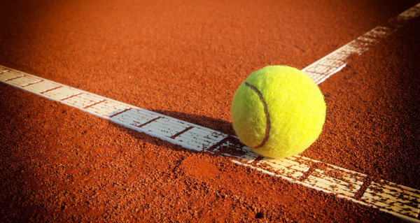 Tennis ball on court,close up