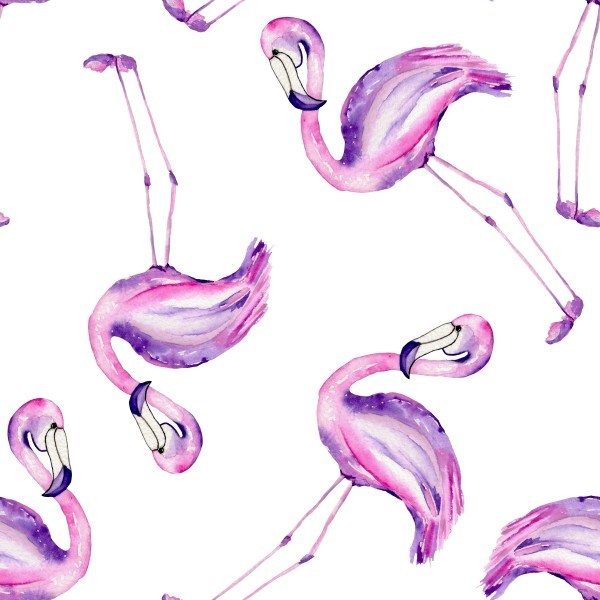 A seamless pattern with the flamingo painted in watercolor on a white background