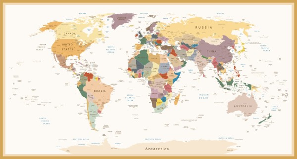 Highly detailed political world map vintage colors custom wallpaper world map vintage colors adobestock96051485 gumiabroncs Choice Image