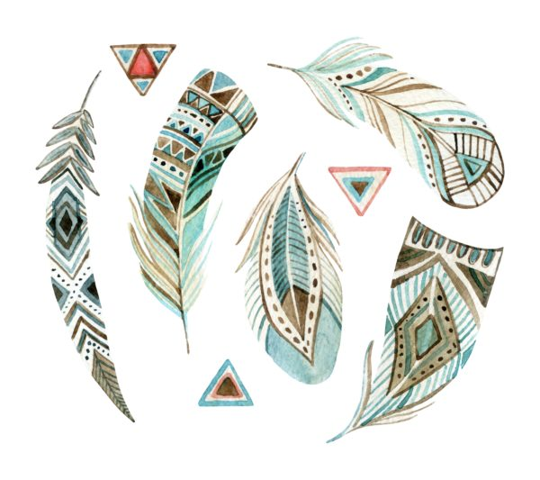 watercolor tribal feathers set