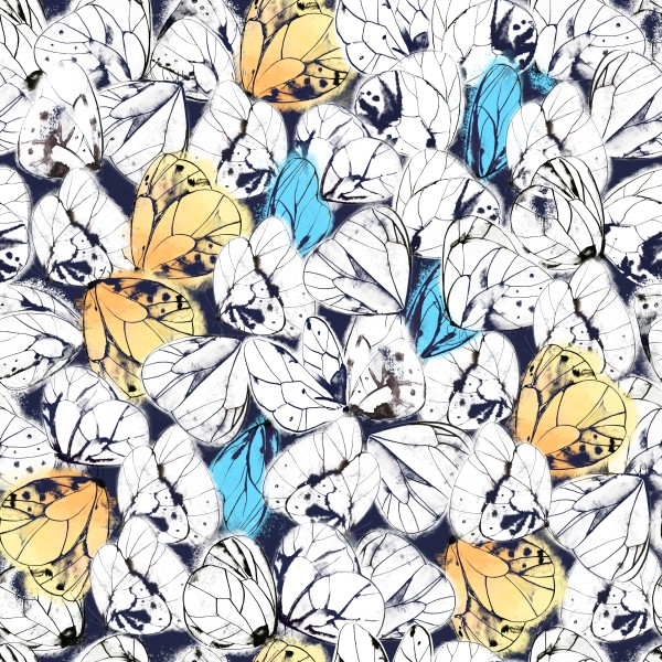 Beautiful seamless pattern with butterflies. Ink and watercolor on wet paper. Hand drawn illustration.