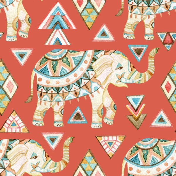 Indian ornate elephant watercolor with tribal elements seamless pattern