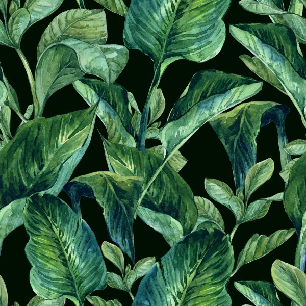 Watercolor Seamless Background with Tropical Leaves 600x600