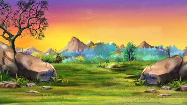Lion King Landscape with big stones and mountains