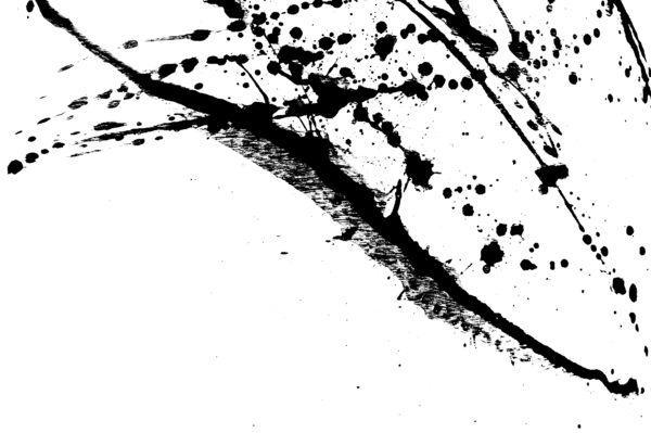 Ink splatter, black acrylic paint splash isolated on background texture grunge. Blood splash, spray. Abstract acrylic hand painted splash. Black and white color. Close up.