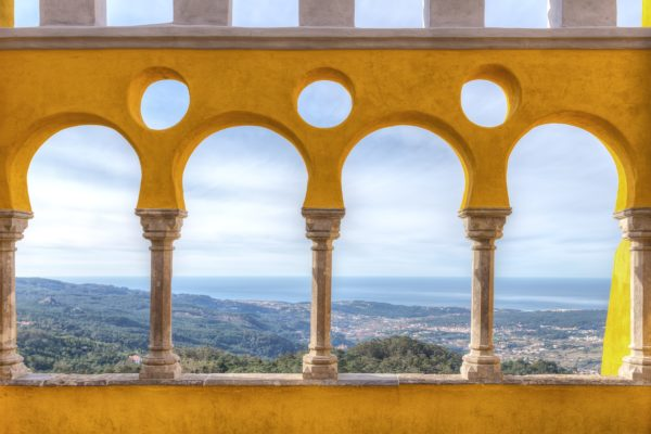 Magnificent view from balcony of castle Pena. Sintra, Portugal.