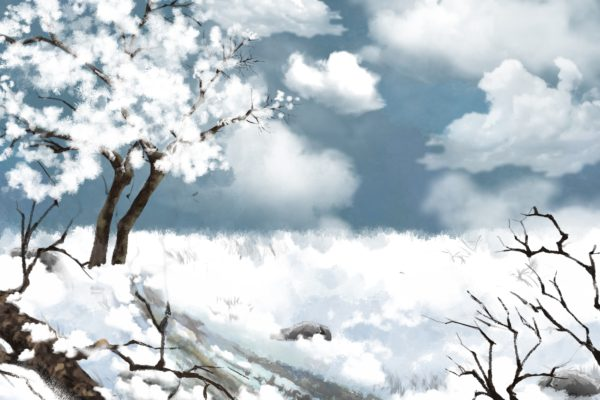 Watercolor Style Digital Artwork: White Snow Land. Realistic Fantastic Cartoon Style Character, Background, Wallpaper, Story, Card Design