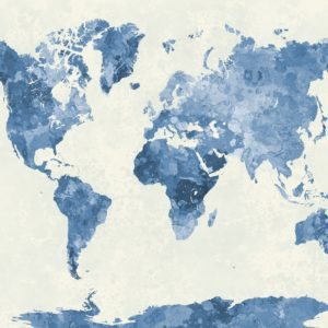 Blue Watercolour World Map