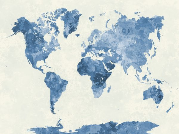 Self adhesive 800w x 550h custom wallpaper world map in watercolor blue gumiabroncs