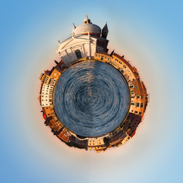 Venice Italy 360 degree panorama of the city as a little planet. Unique view of Venice.