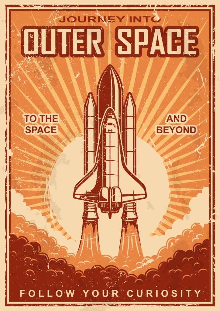 Outer space poster with shuttle