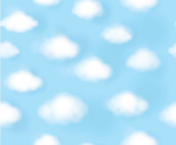 Puffy White Clouds over a Blue Sky