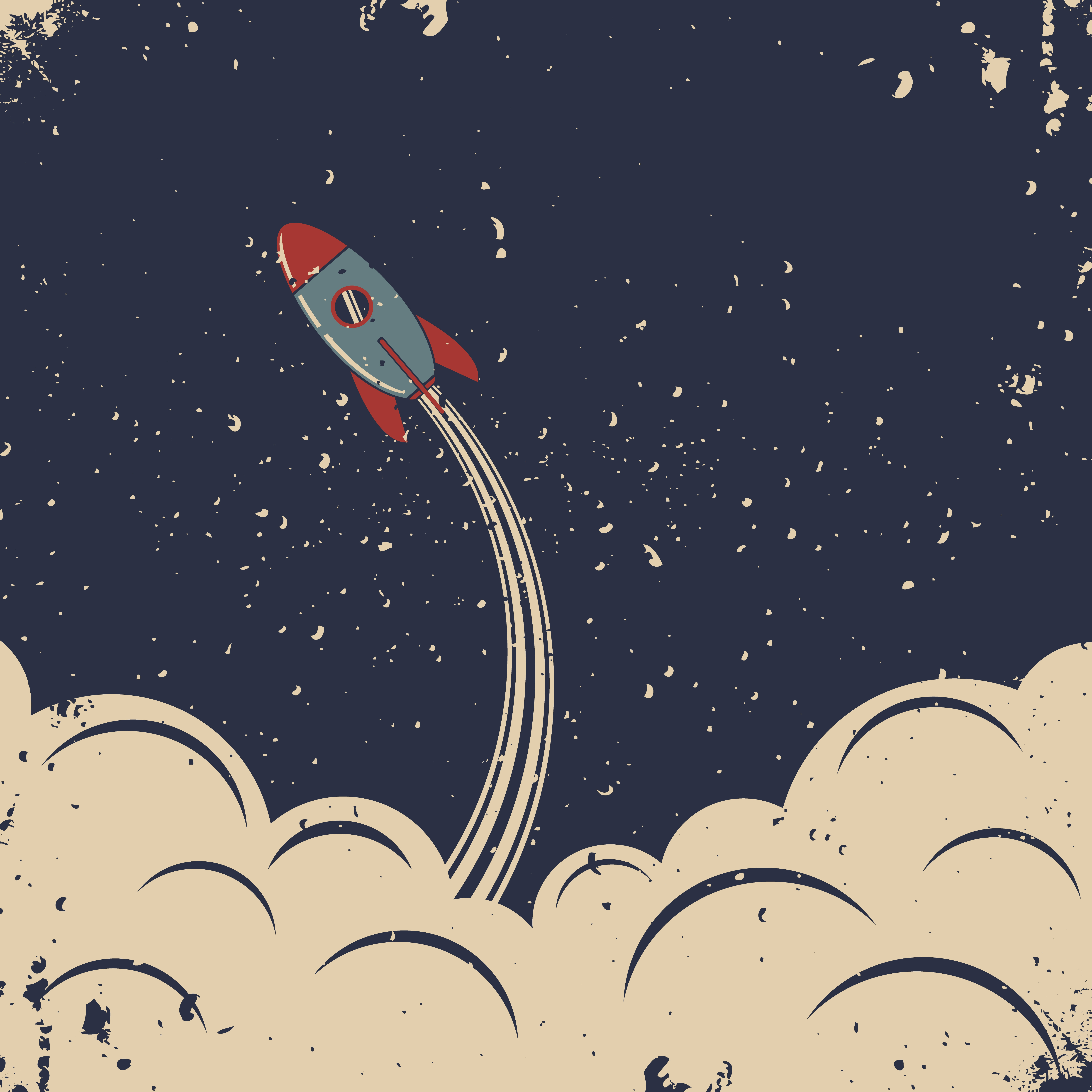Retro Rocket Launch Custom Wallpaper That S Out Of This World