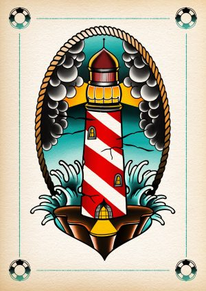 Lighthouse drawing with candy stripes