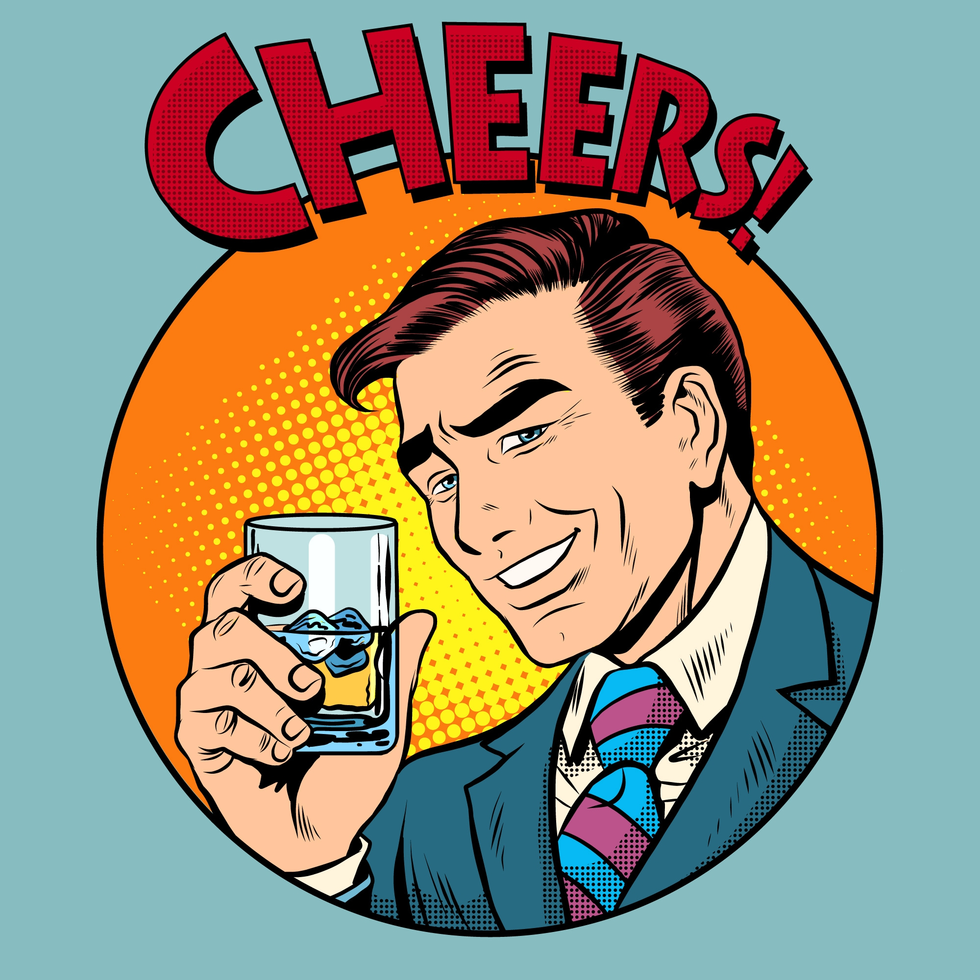 cheers - cartoon man holding a drink
