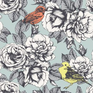 Birds and roses on a light grey background