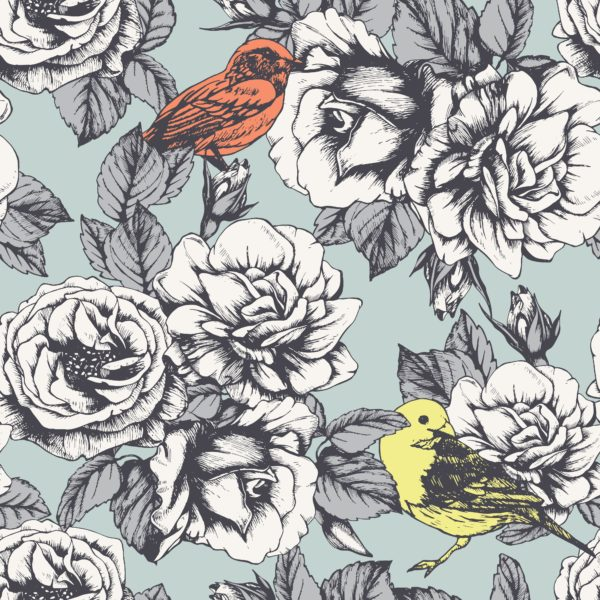 Hand-drawn-Roses-and-Birds