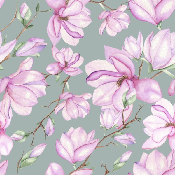 Seamless floral pattern with magnolias painted with watercolors on grey background