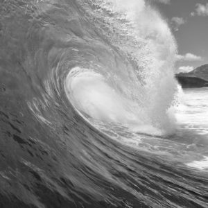 Surfing Barrel Wave in Black and White